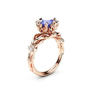 Tanzanite Branch Engagement Ring 14K Rose Gold Ring 2 Carat Nature Inspired Engagement Ring