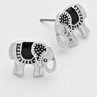 Ethnic Elephant Delicate Stud Earrings - Silver