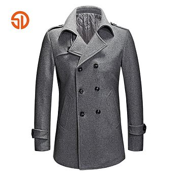 Fashion Pea Coat Men 2017 Autumn Winter Double Breasted Casual Long Woolen Coats Plus Size XXXL Mens Overcoat Male M-3XL Peacoat