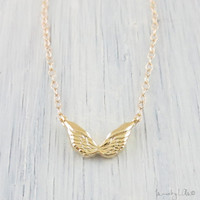 Gold Angel Wing Necklace - Petite Charm Necklace, Dainty Gold Necklace, Gold Filled Chain, Delicate Necklace - Freedom Wings