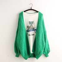 Batwing Loose Knit Cardigan Solid Color Sweater