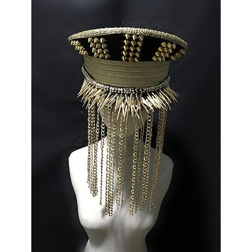 Handmade Rivets & Chains Military Hat