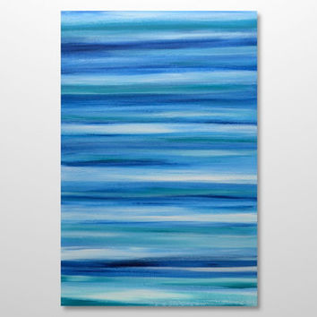 Large Original Ocean Seascape Canvas Art - Modern Abstract Painting- Turquoise, Blue, White Stripes: Shades of the Sea 24x36 -FREE Shipping