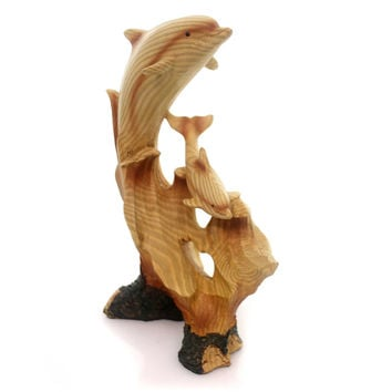 Animal PLAYFUL DOLPHIN CARVING Polyresin Ocean Sea Mammal Porpoise Mme685