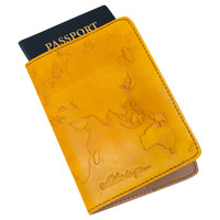 Embossed Genuine Leather World Passport Cover
