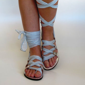 "Silver Leather Sandals, Unique design, with silk scarf straps. Ideal bridal shoes  ""APHRODITE"" AS23"