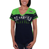 Seattle Seahawks Women's Wild Card Mesh V-Neck T-Shirt - College Navy