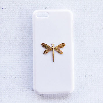 Gift Ideas iPhone 5c Cell Phone Cover Dragonfly Insect Cases iPhone 6 Plus Mobile Accessory Hard Case White Protector Gold Bling Handmade