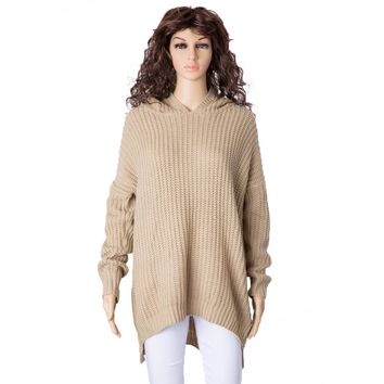 Casual Hooded Long Sleeve Solid Color High-Low Hem Women's Sweater