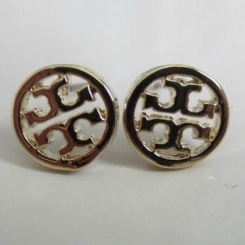Tory Burch White and Gold Stud Earrings