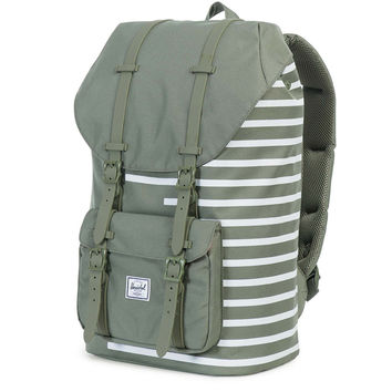 Little America Backpack in Deep Lichen Offset Stripe by Herschel Supply Co.