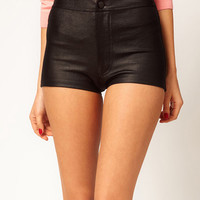 Black High Waist Faux Leather Elastic Mini Shorts