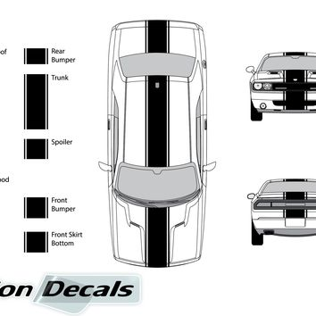 "Dodge Challenger 2011 15"" Rally Racing Stripe with Pin Stripes Vinyl Decal Kit"