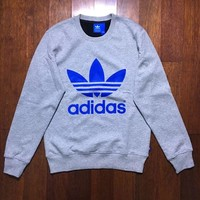 Adidas New Fashion Originals Gray Loose Trefoil Boyfriend Sweatshirt