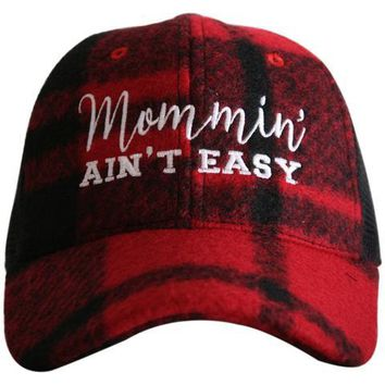 Katydid Mommin' Ain't Easy Plaid Trucker Hat