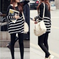 Korean new Style Women Stripe Knit Sweater Long Sleeve Loose Jumper Knitwear Top