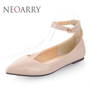 NEOARRY 6 colors solid color patent PU women shoes candy colors flat shoes ballet princess shoes for casual size 30-49 JT034
