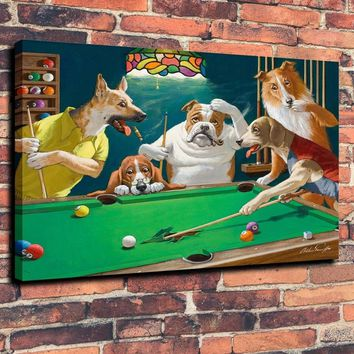 Animal Oil Painting pool table dogs Art Print on Canvas Home Decor 18X24 Unframed