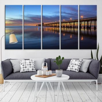 13757 - Large Wall Art Wood Pier Sunset on the Sea Canvas Print