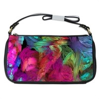 Pastel Adrenaline Watercolors Fractal Handbag Shoulder Bag Black Leather
