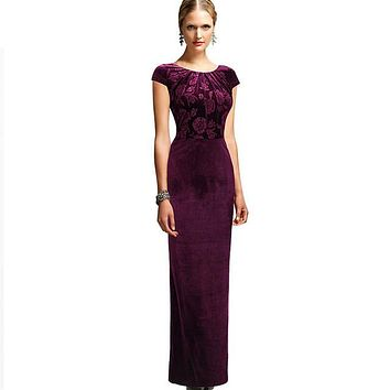 Womens Dresses Elegant Floral Frill Velvet Formal Evening Party Mother of Bride Special Occasion Bodycon Dress  281