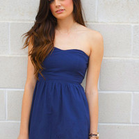 Navy Strapless with Lace Dress