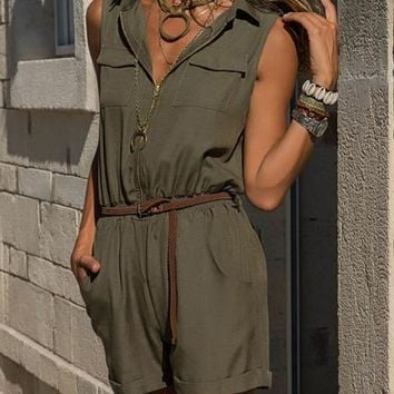 Womens Army Green Zippered Shorts Overall