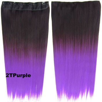 "Dip dye hairpieces New Fashion 24"" Women Clip in on gradient wig Bath & Beauty Hair Ombre Hair Extensions Two Tone Straight hair Gradient Hair Extension Colorful Hairpieces GS-666 2T Purple,1PCS"