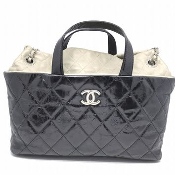 Chanel Quilted Lambskin Leather Chain Shoulder Tote Bag Black/ Grey