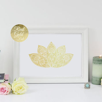 Lotus Print, Gold Lotus Flower, Real Gold Foil, Geometric Poster, Minimal Wall Art, Lotus Wall Art, Hindu Decor, Real Gold Foil, 11x14 print