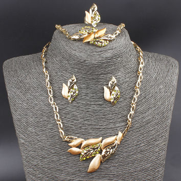 Fashion Vintage Leaf Design 18K Gold Plated Austrian Crystal Necklace Bracelet Ring Earrings Jewelry Set For Women Wedding Gifts