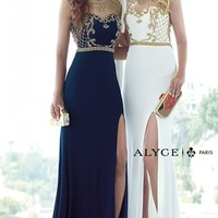 Alyce Paris 6361 Beaded High Neck Long Navy-Gold Prom Dress