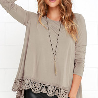 Just Like Vacation Taupe Long Sleeve Top