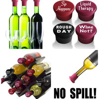 Set of 4 No Spill Silicone Wine Stoppers