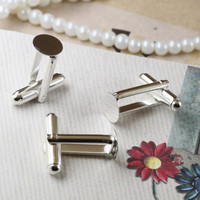 20pcs The 8mm plane of the copper-silver-plated color French cuff links (NO: 06 046) cufflinks blanks setting findings base pad