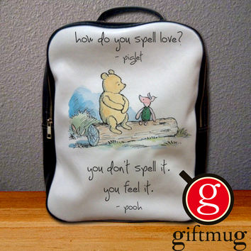 Winnie The Pooh Piglet Love Quote Backpack for Student