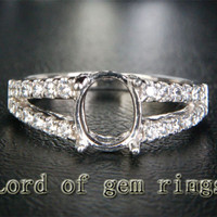 Diamond Engagement Semi Mount Ring 14K White Gold Setting Oval 6x8mm