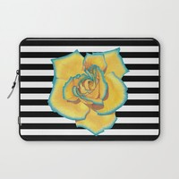 Yellow and Turquoise Rose on Stripes Laptop Sleeve by drawingsbylam