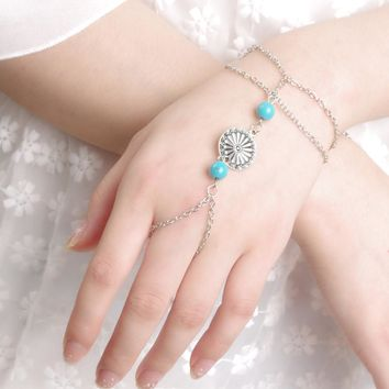 Turquoise Bracelet Finger Ring Bangle