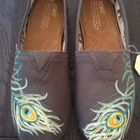 Peacock Feather TOMS Painted Shoes