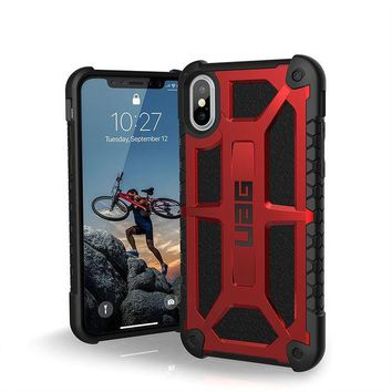 VONEIR6 UAG iPhone X Monarch Feather-Light Rugged [CRIMSON] Military Drop Tested iPhone Case