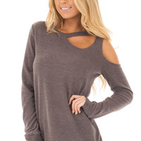 Mocha Long Sleeve Top with Cut Out Neck and Shoulder Detail