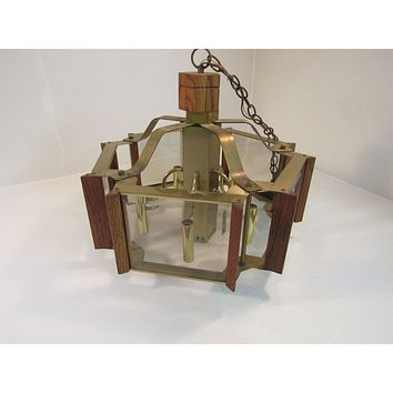 Classic Hanging Chandelier Fixture 5 Sides Mid Century Vintage Brass Oak -- Used