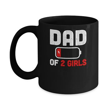 Funny Dad Of 2 Girls Fathers Day Gifts Mug