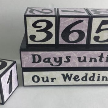 Wedding Countdown Wood Blocks/Days Until Our WeddingPale Purple and ...