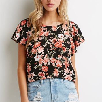 Watercolor Floral Flutter-Sleeve Top
