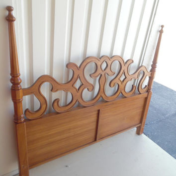CURLED AND SWIRLED / Queen / Full Size Solid Wood Decorative Headboard / Ready To Paint
