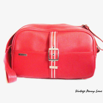 Vintage Sporty Red Vinyl Samsonite Carry On Luggage Tote Shoulder Bag