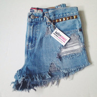 Mid Waisted Distressed Studded Denim Shorts