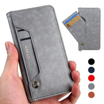 For iPhone 8 Case Vintage Leather & Silicone Wallet Cover iPhone 8 Plus Case With Card Holder Flip Phone Coque For iPhone8